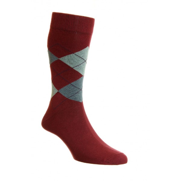 HJ Hall Argyle Patterned Berry Coloured Bamboo Mix Sock For Comfort & Breathability Fits Sizes 6-11