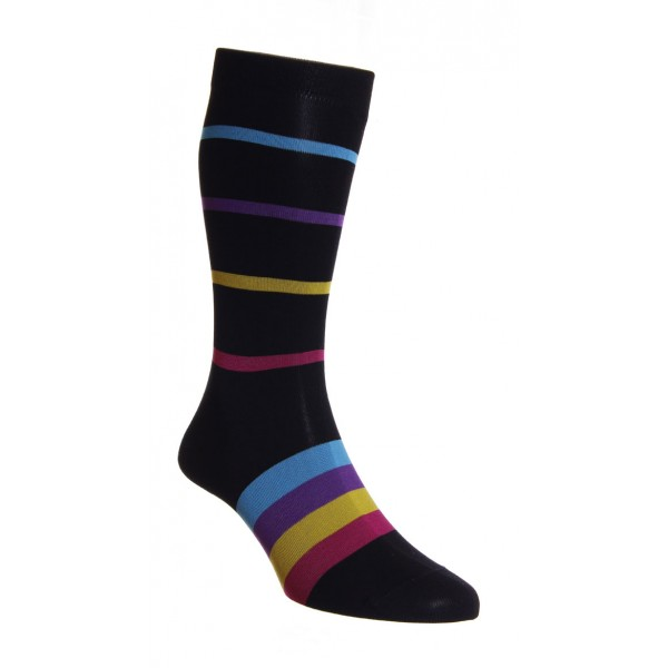 HJ Hall Elkins Stripe Luxury Black Superfine Egyptian Cotton Rich Sock Fits Sizes 7-10