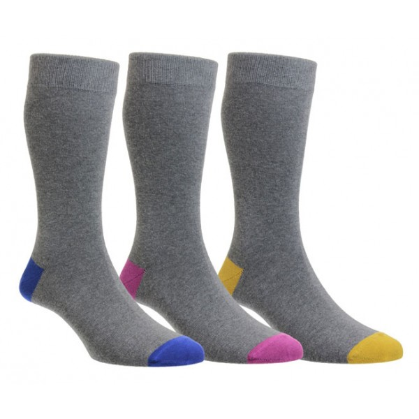 HJ Hall Luxury Grey Cotton Sock With Blue/Pink/Yellow Heel & Toe Sections 3Pr Pack Fits Sizes 6-11