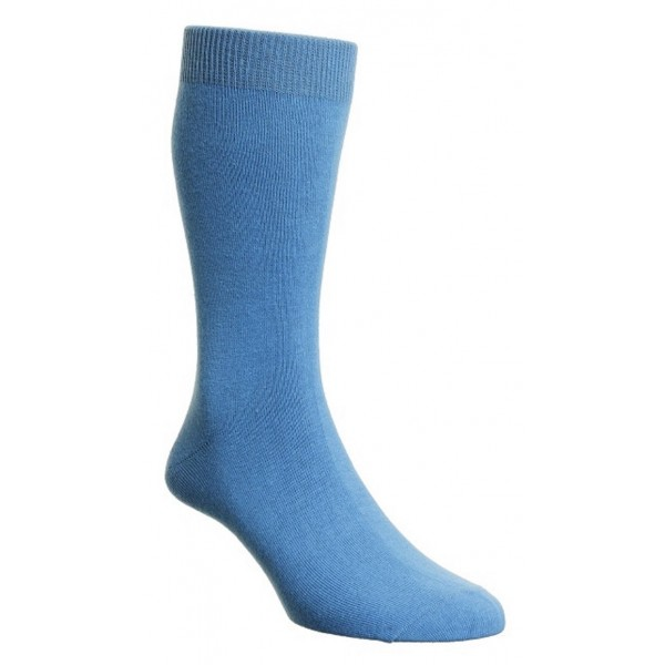 HJ Hall Blue Aster Luxury Cotton Rich Sock Fits Sizes 6-11