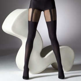 "Gipsy Mock Suspender Black Tights (Up To 50"" Hips) 1Pr Pack 
