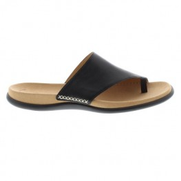 Gabor Lanzarote Soft Nappa Leather Toe-Loop Mule Style Sandal With Contrast White Stitching To Upper On A Soft Suede Covered Cushioned Footbed