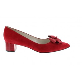 Magnus Delzado Denisa Average Fitting Mid Heel Fine Suede Court Shoe With A Grosgrain Bow Saddle Trim, Patent Covered Block Heel, And Full Leather Lining